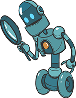Robot character with a magnifying glass