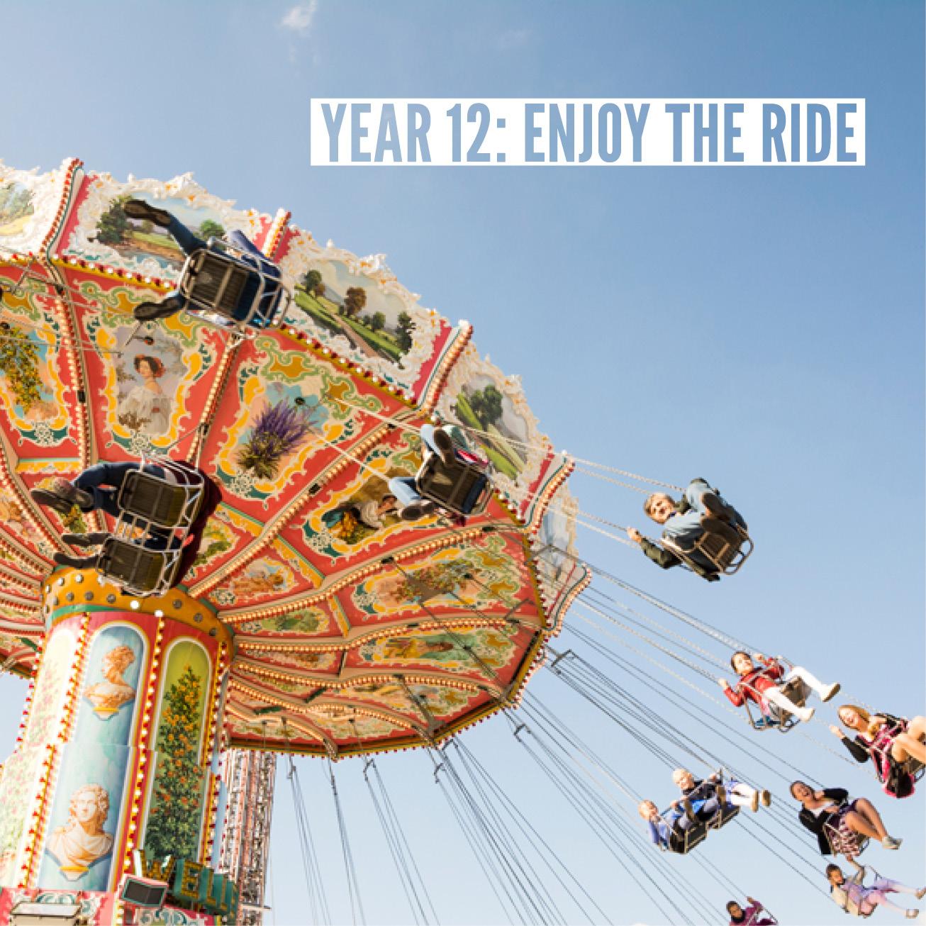 Children on a high flying carousel